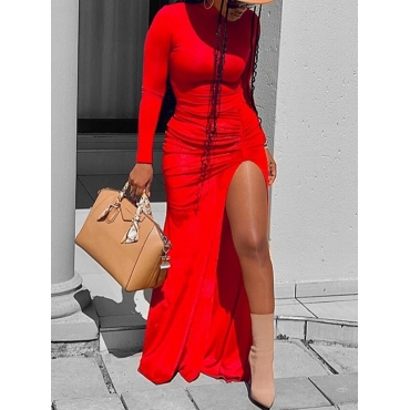 lovely Stylish Fold Design Side High Slit Red Dres