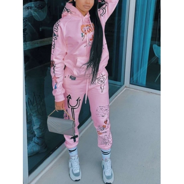 Lovely Sportswear Hooded Collar Print Pink Two Pie