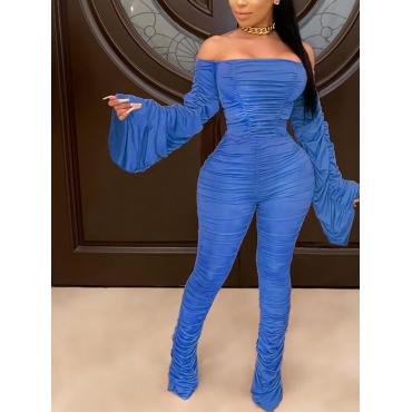 Lovely Trendy Dew Shoulder Fold Design Blue One-pi