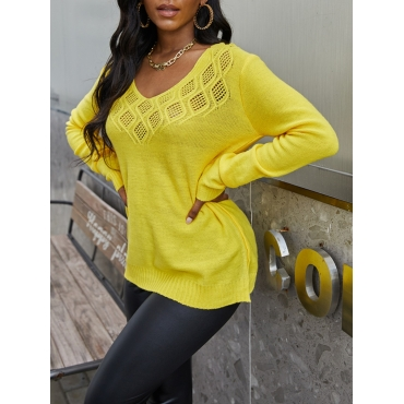 Lovely Trendy V Neck Hollow-out Yellow Sweater