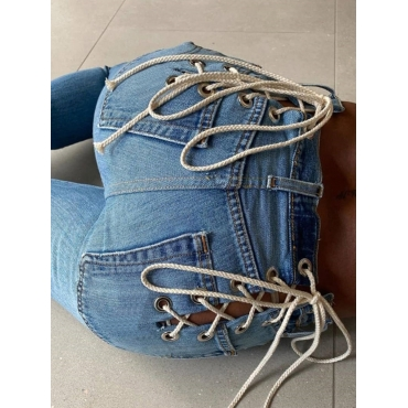 Lovely Trendy Bandage Design Baby Blue Jeans