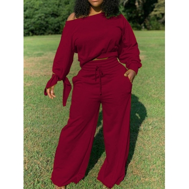 Lovely Casual Lace-up Loose Wine Red Two Piece Pan