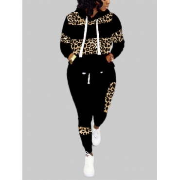 Lovely Casual Hooded Collar Leopard Print Patchwor