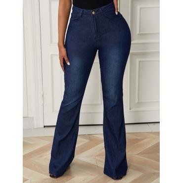 Lovely Trendy Basic Deep Blue Jeans