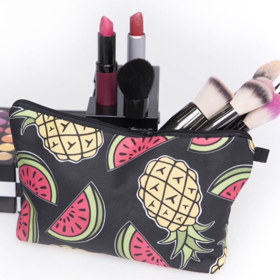 Lovely Stylish Watermelon Print Black Makeup Bag