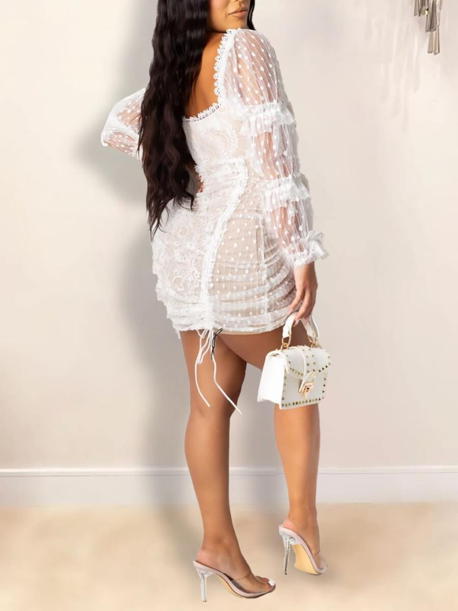 lovely Trendy Square Collar See-through Drawstring White Mini Dress