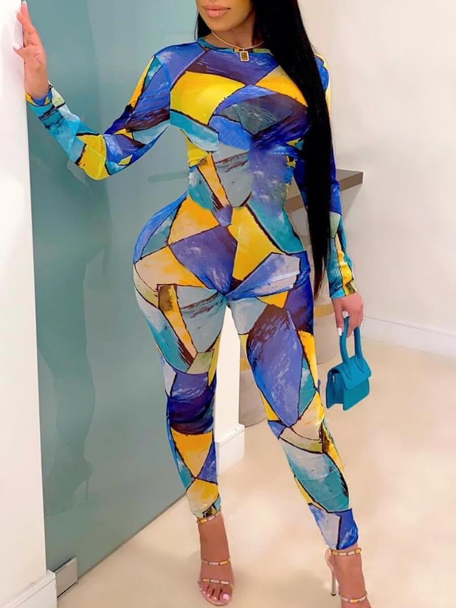 LW Round Neck Color-lump Jumpsuit