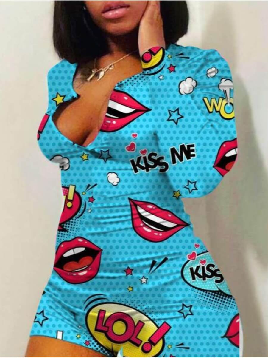 Lovely Trendy Lip Print Blue Sleepwear