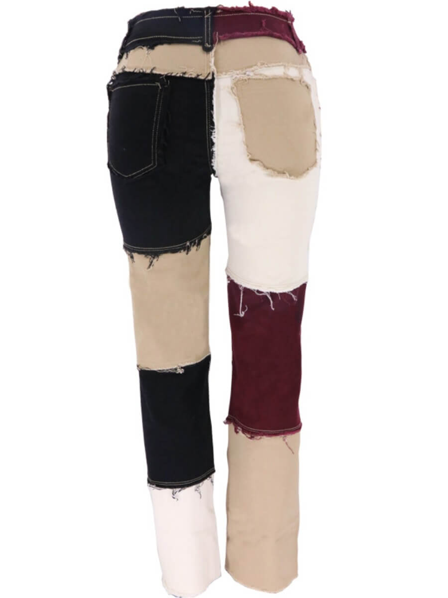 Lovely Street Color-lump Patchwork Black Jeans