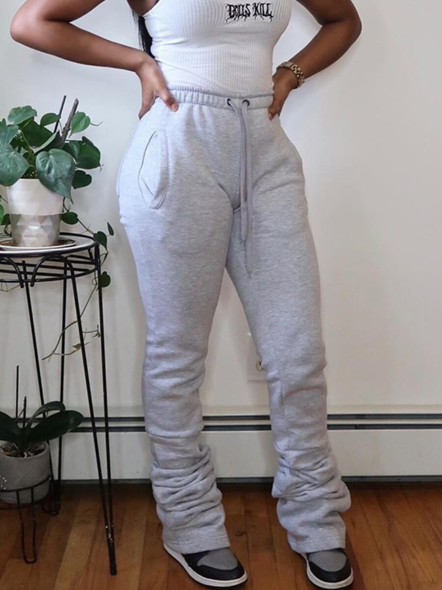 Lovely Sportswear Letter Print Skinny Grey Pants