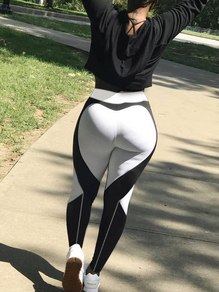 Lovely Sportswear Patchwork White Leggings