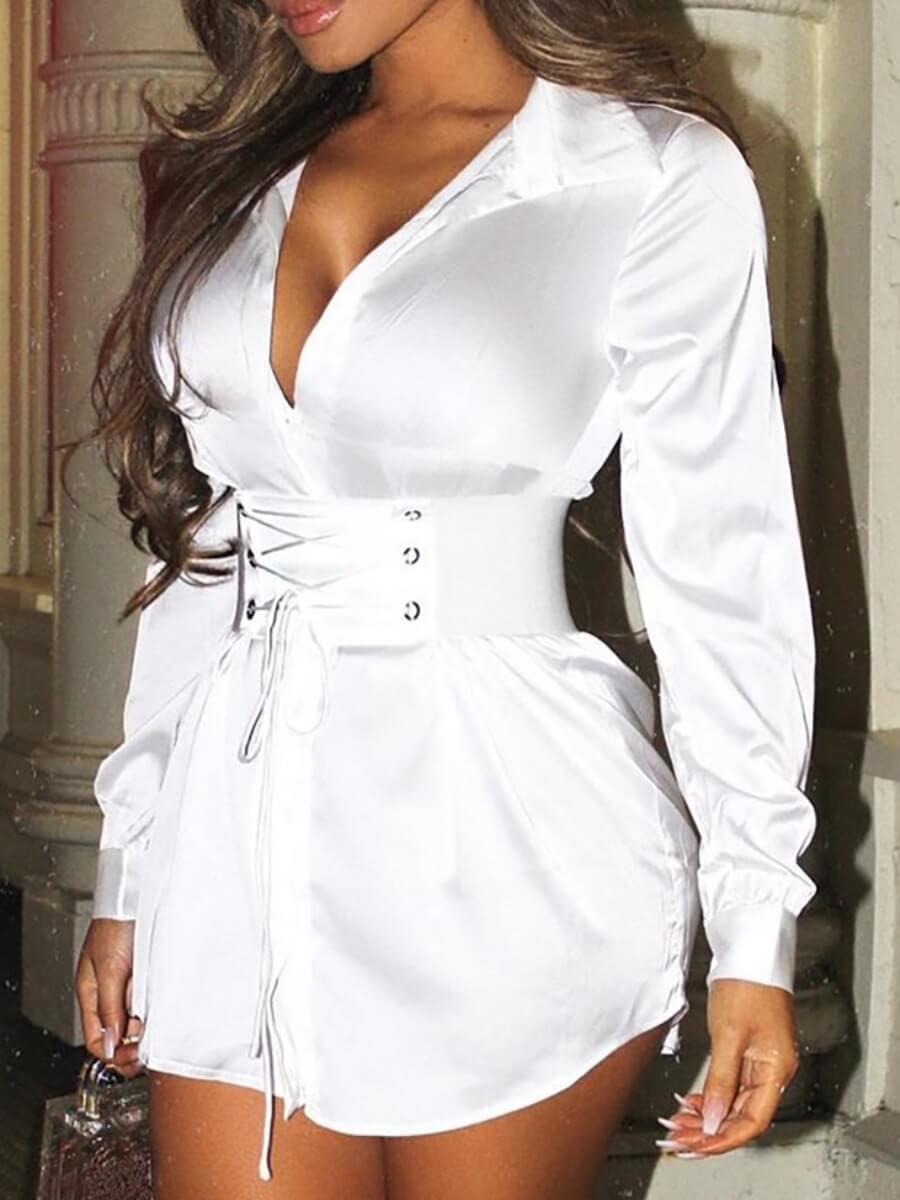 Lovely Trendy Turndown Collar Bandage Design White