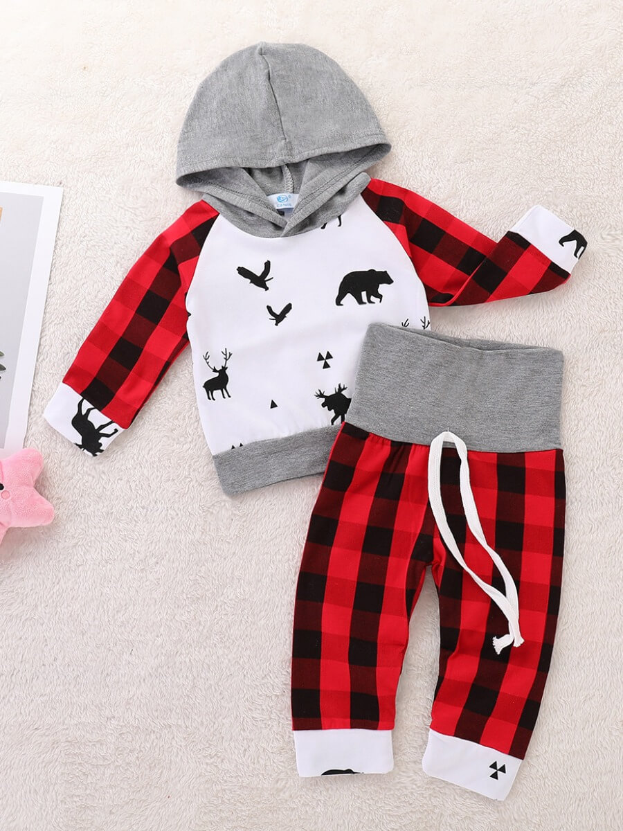 Lovely Casual Hooded Collar Print Patchwork Red Bo