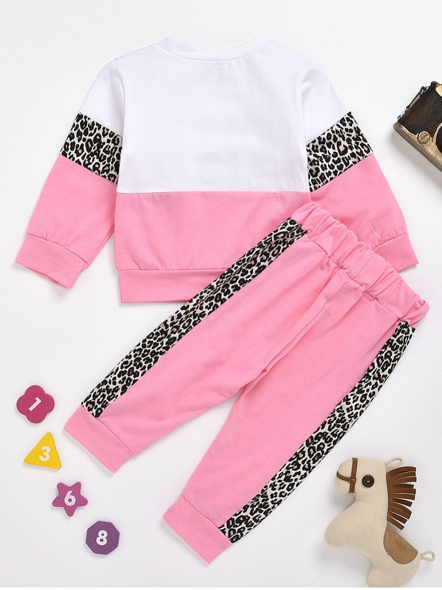 Lovely Sportswear O Neck Leopard Print Patchwork P