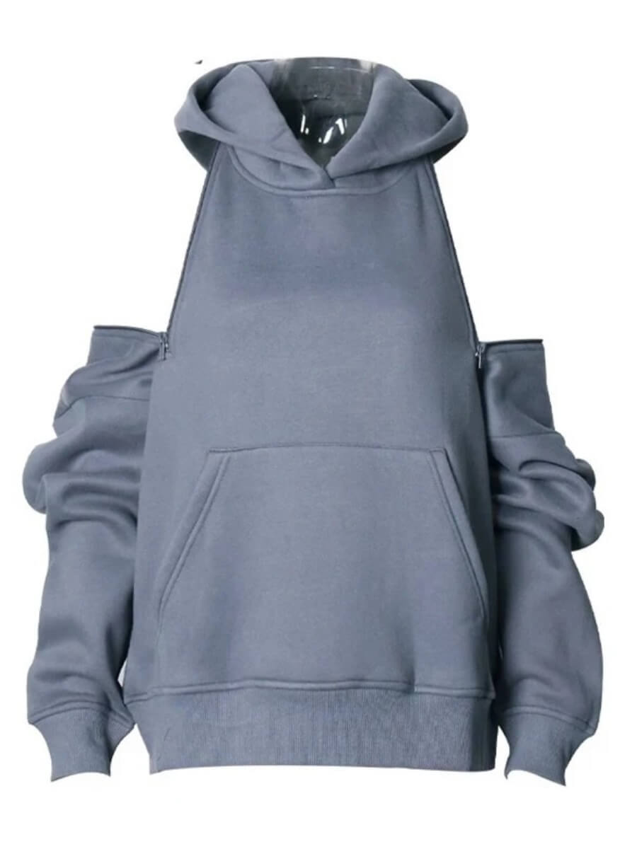 Lovely Casual Hooded Collar Zipper Design Grey Hoo