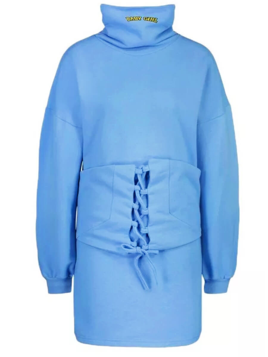 lovely Casual Turtleneck Bandage Design Blue Mini Dress