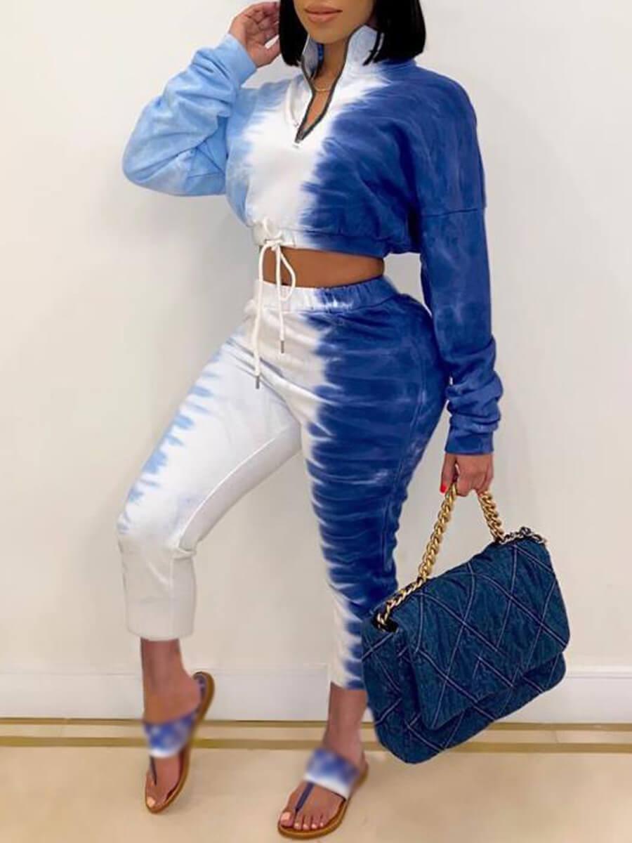 LW Tie Dye Zipper Design Crop Top Sweatshirt Set (Ankle length Pants)