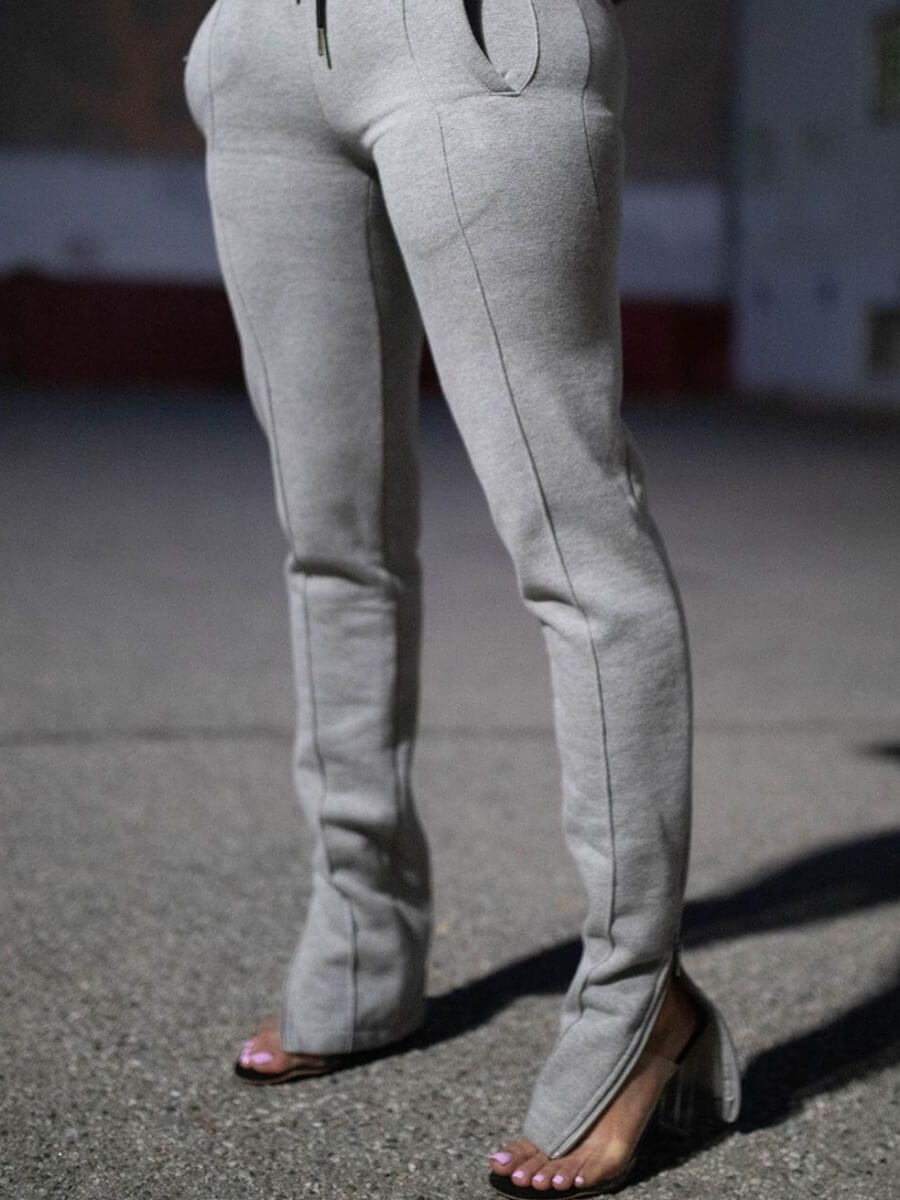 Lovely Street Lace-up Patchwork Grey Pants