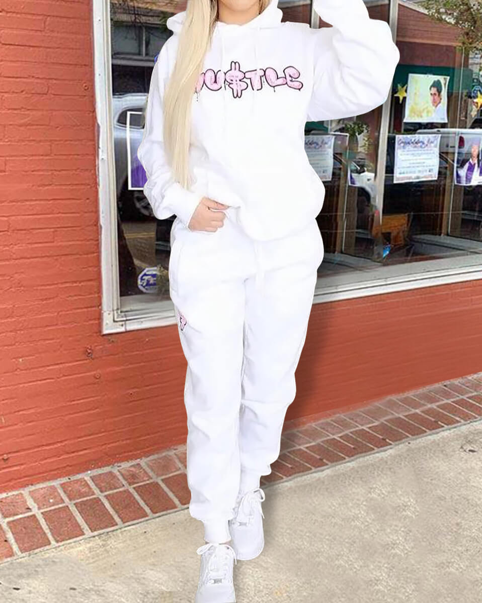 Lovely Casual Hooded Collar Letter Print White Two