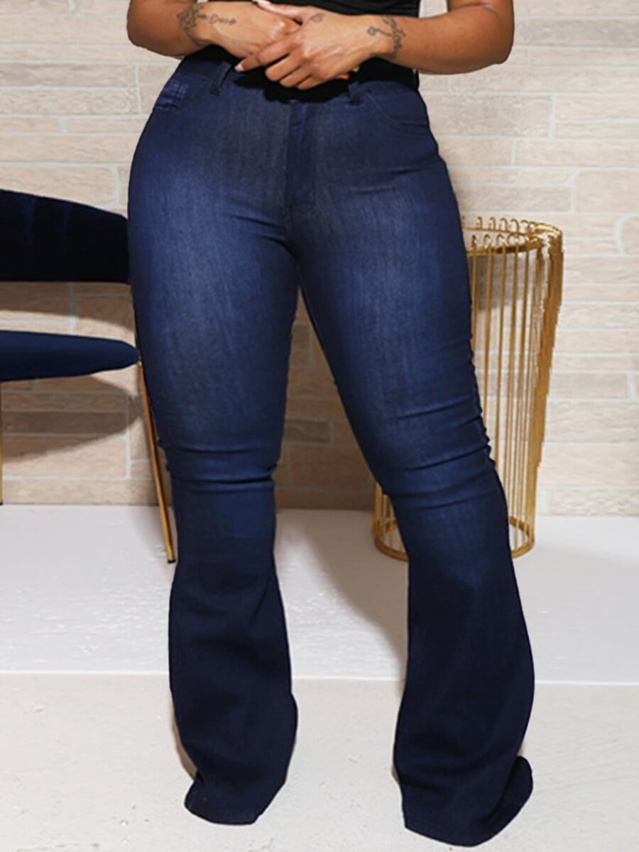 Lovely Trendy Flared Skinny Deep Blue Plus Size Je