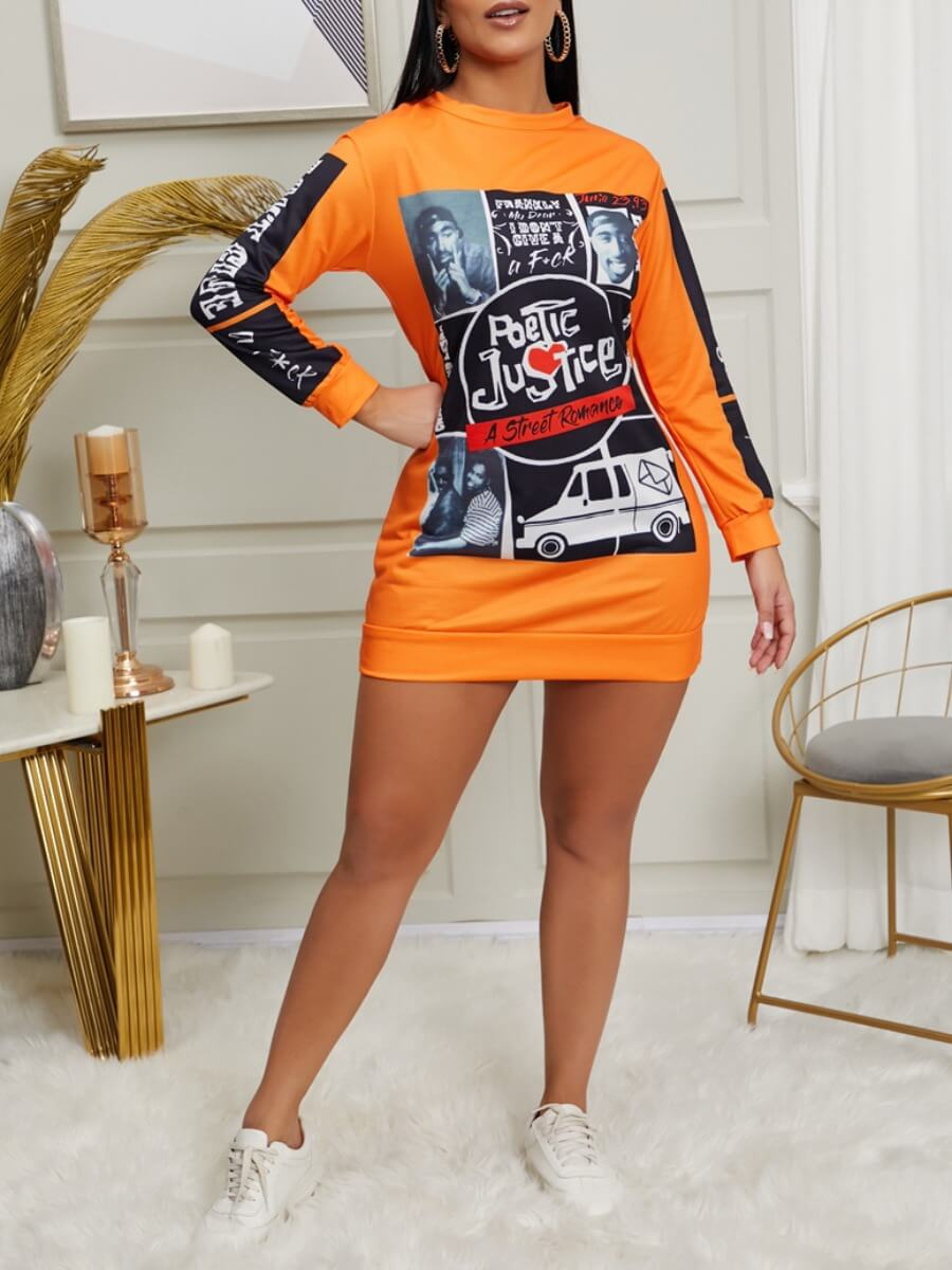 Lovely Street O Neck Print Orange Knee Length Dres