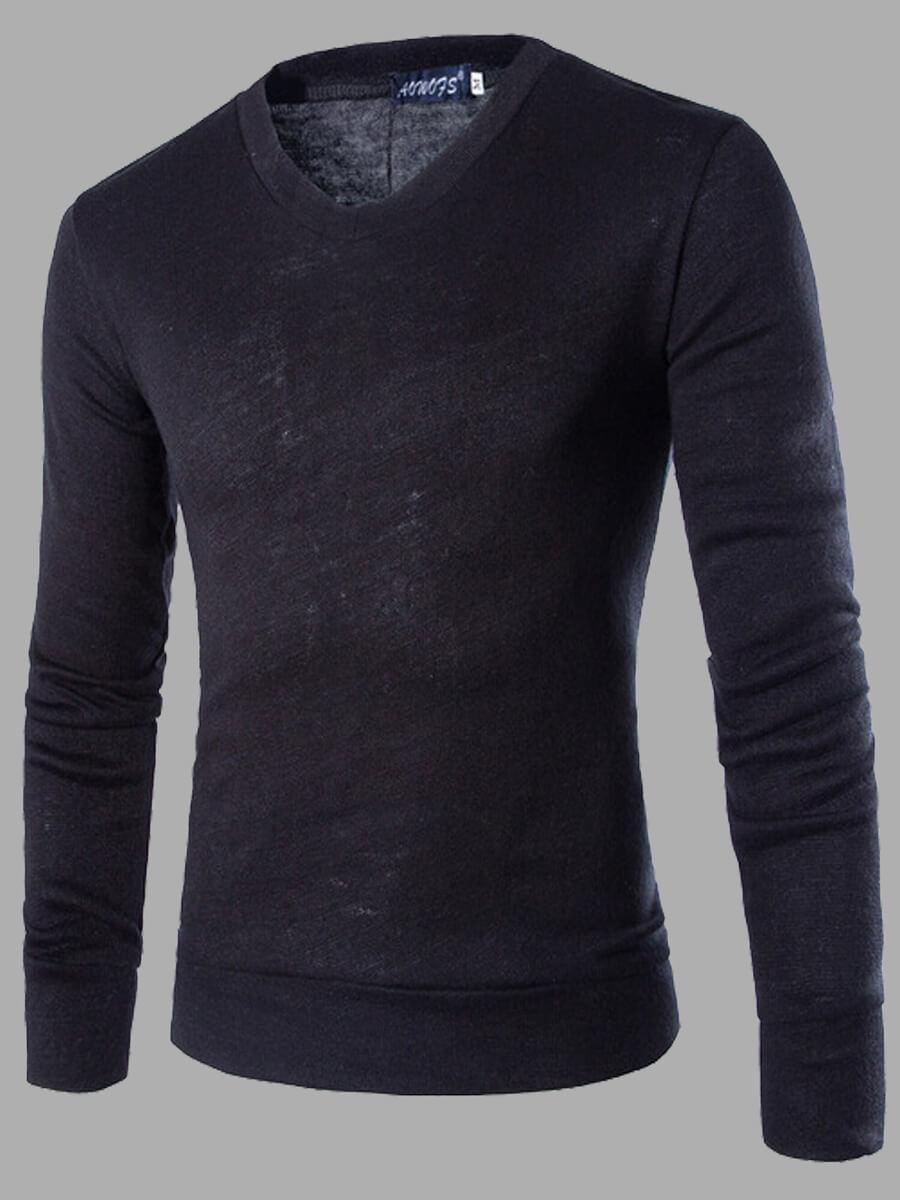 LW Lovely Casual O Neck Basic Black Men Sweater