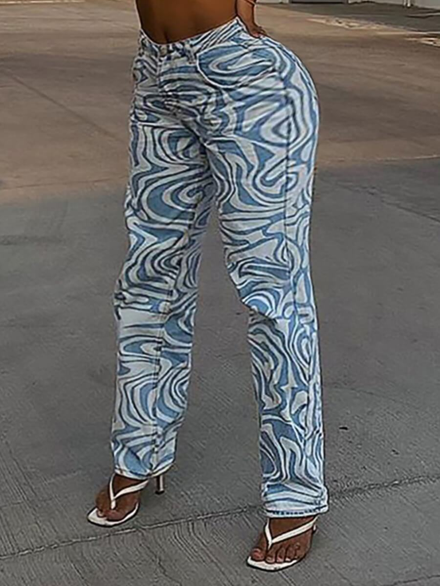 LW Lovely Casual Striped Print Blue Jeans