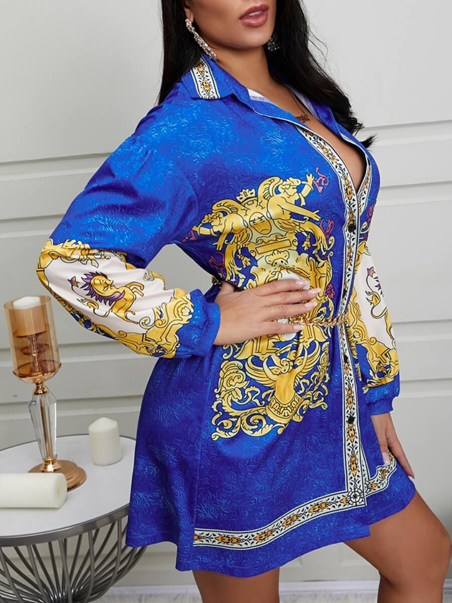 Lovely Casual Turndown Collar Versace Print Blue M