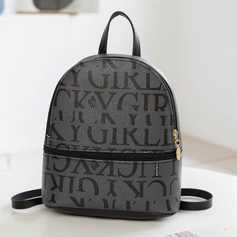 LW Lovely Casual Letter Print Black Backpack