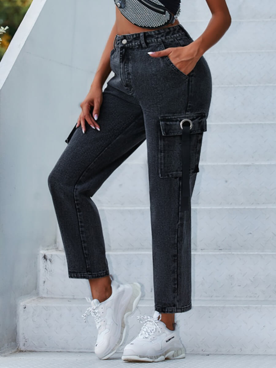 LW Lovely Casual Pocket Patched Black Jeans
