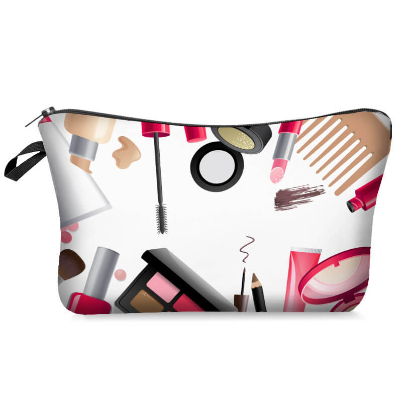 Lovely Stylish Print Rose Red Makeup Bag