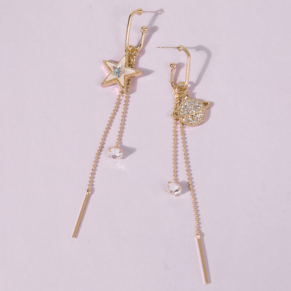 Lovely Trendy Tassel Design Gold Earring
