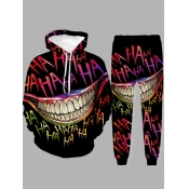 Lovely Street Hooded Collar Print Black Men Two-piece Pants Set