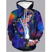 Lovely Street Hooded Collar Graffiti Print Hoodies
