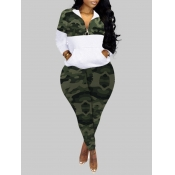 Lovely Sportswear Turndown Collar Camo Print Patchwork Green Plus Size Two-piece Pants Set