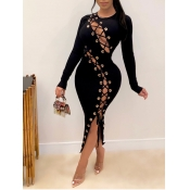 Lovely Sexy O Neck Bandage Design Black Mid Calf Dress