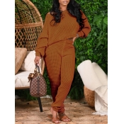 Lovely Casual O Neck Basic Light Tan Two Piece Pan