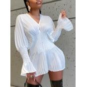 Lovely Stylish V Neck Fold Design White Mini Dress