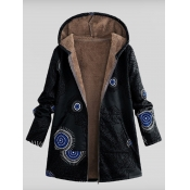Lovely Casual Hooded Collar Print Black Coat