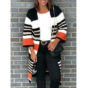 lovely Casual Striped Loose Brown Cardigan