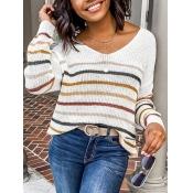lovely Trendy V Neck Striped White Sweater
