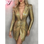 lovely Sexy Turn-back Collar Print Gold Blazer