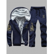 Lovely Casual Hooded Collar Print Deep Blue Men Two-piece Pants Set