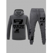 Lovely Casual Hooded Collar Print Dark Grey Men Tw