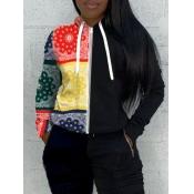 lovely Street Hooded Collar Print Patchwork Black Hoodie