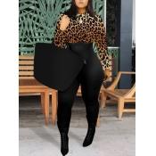 Lovely Stylish O Neck Leopard Print Patchwork One-piece Jumpsuit