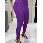 lovely Sportswear Patchwork Skinny Purple Leggings