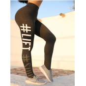 Lovely Sportswear Print Skinny Black Leggings