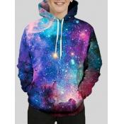 Lovely Trendy Hooded Collar Starry Sky Print Gradient Boy Hoodie