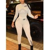 Lovely Sportswear O Neck Print Patchwork Light Grey Two Piece Pants Set